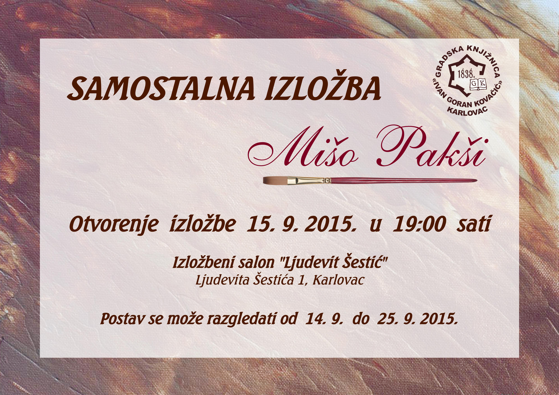 plakat samostalne izložbe Miše Pakšija