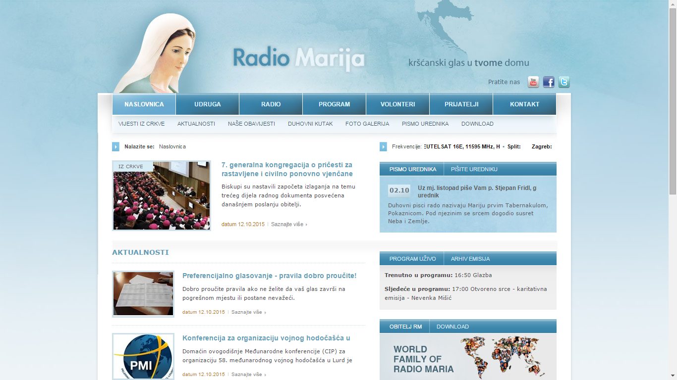 Radio Marija. Screen shot portala od 13. listopada 2015.