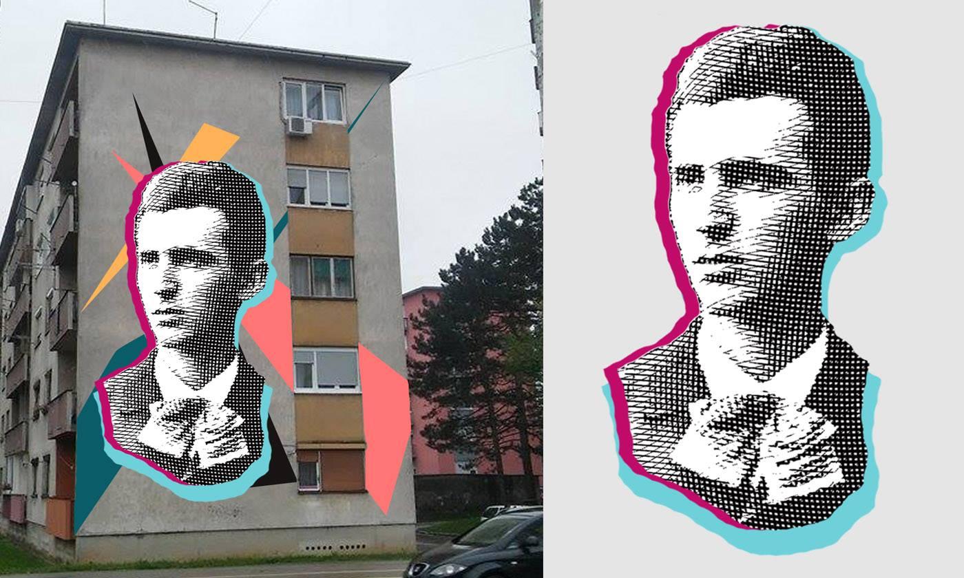 Idejno rješenje za mural s likom Nikole Tesle na Rakovcu. Autor rješenja je Leonard Lesić