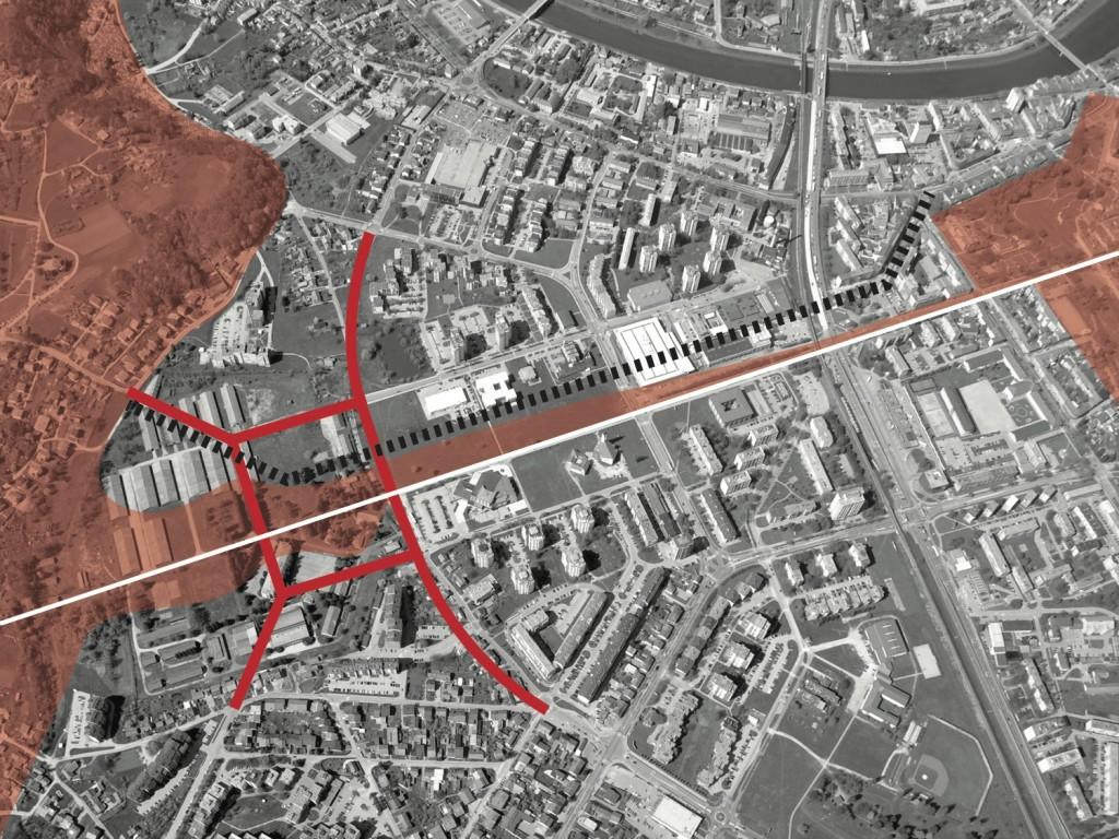 foto_12 : koncept povezivanja postojeće ulične mreže u cjelinu, spajanje zelenih površina duž osi i naglasak na pješačkim komunikacijama
