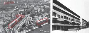 _objekti građeni od 1953. - 1956. godine označeni su crvenom bojom, a dva objekta izvedena 1951. bijelom STAMBENE ZGRADE Smičiklasova 5, Domobranska 16, 18; Radićeva 38, Naselje Marka Marulića 3, 5 suradnici: Mira Molnar, Dragutin Marić projektna organizacija: PB Temelj (PB Karlovac) izvođač: GP Temelj investitor: Vojna pošta izvedeno: 1953.-1956.