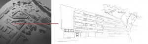 _nakon donošenja urbanističkog plana za širi prostor uz Domobransku i Ulicu Rakovac (jedan od planera je Miroslav Kollenz, također rođen u Karlovcu), Nikšić izrađuje idejno rješenje za objekt kojim bi se završio gradski blok i stvorilo pročelje novoga gradskog trga