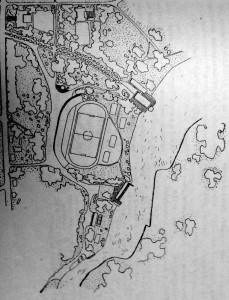 fiskulturni centar uz rijeku Koranu: stadion je orijenirantiran tako da se s tribina vide sve plohe igrališta s vidikom na otvoreni pejzaž rijeke Korane, predviđena je bila adaptacija industrijskih objekata u hotel i restoran, uređenje otvorenog plivališta i pristanište za čamce