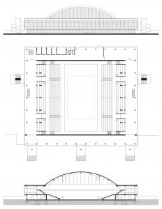 _nacrt istočnog pročelja, prizemlja i poprečni presjek dvorane