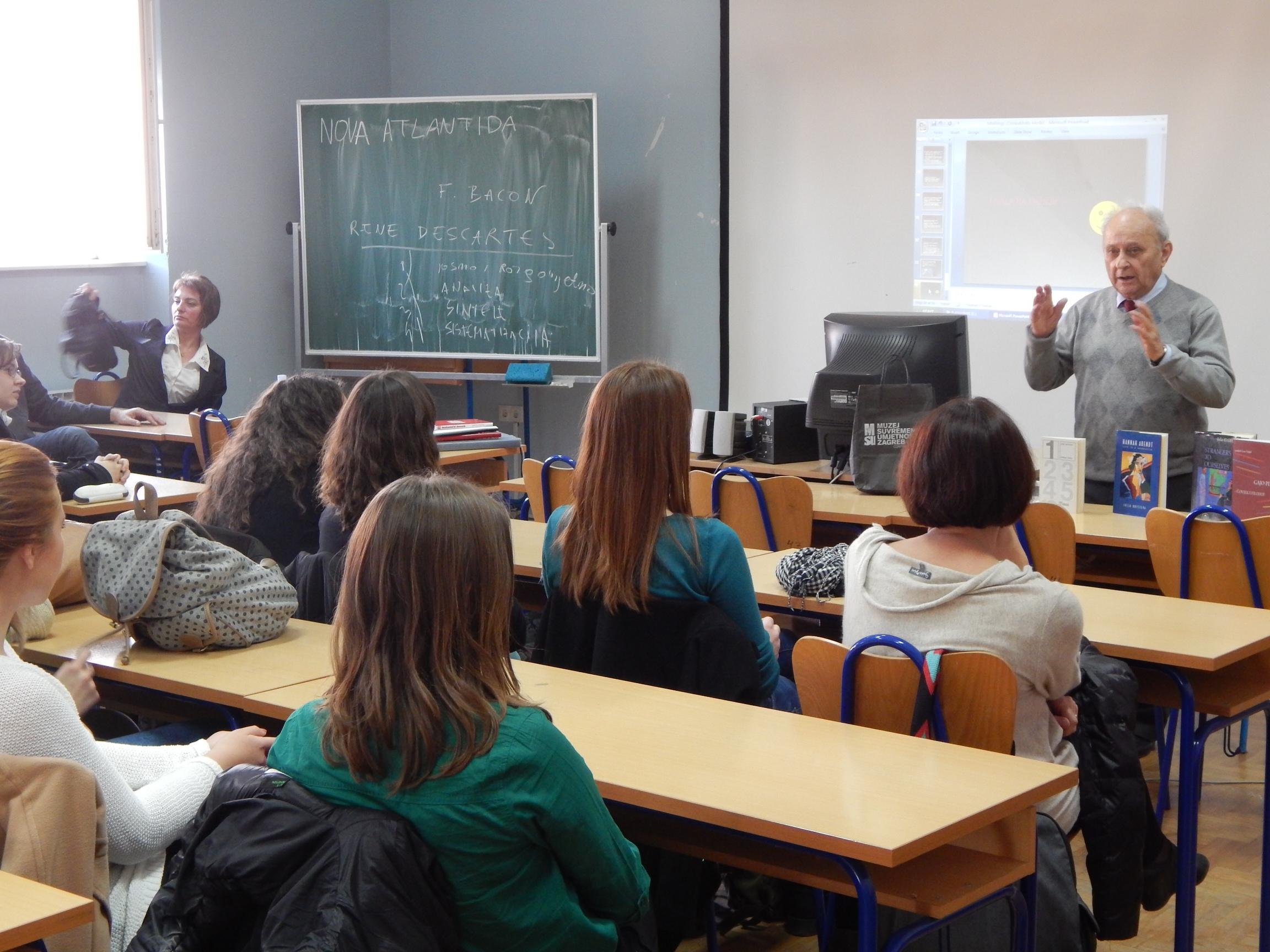 Gimnazija Karlovac, 2013., predavanje Slavka Goldsteina o Gaji Petrvoviću. Foto: Marin Bakić
