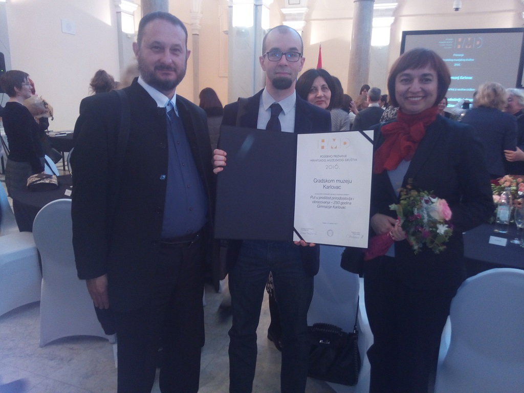 Antun Milinković, Luka Čorak, Hrvojka Božić, Muzej Mimara, Zagreb, 18. 12. 2017. Izvor: Gradski muzej Karlovac