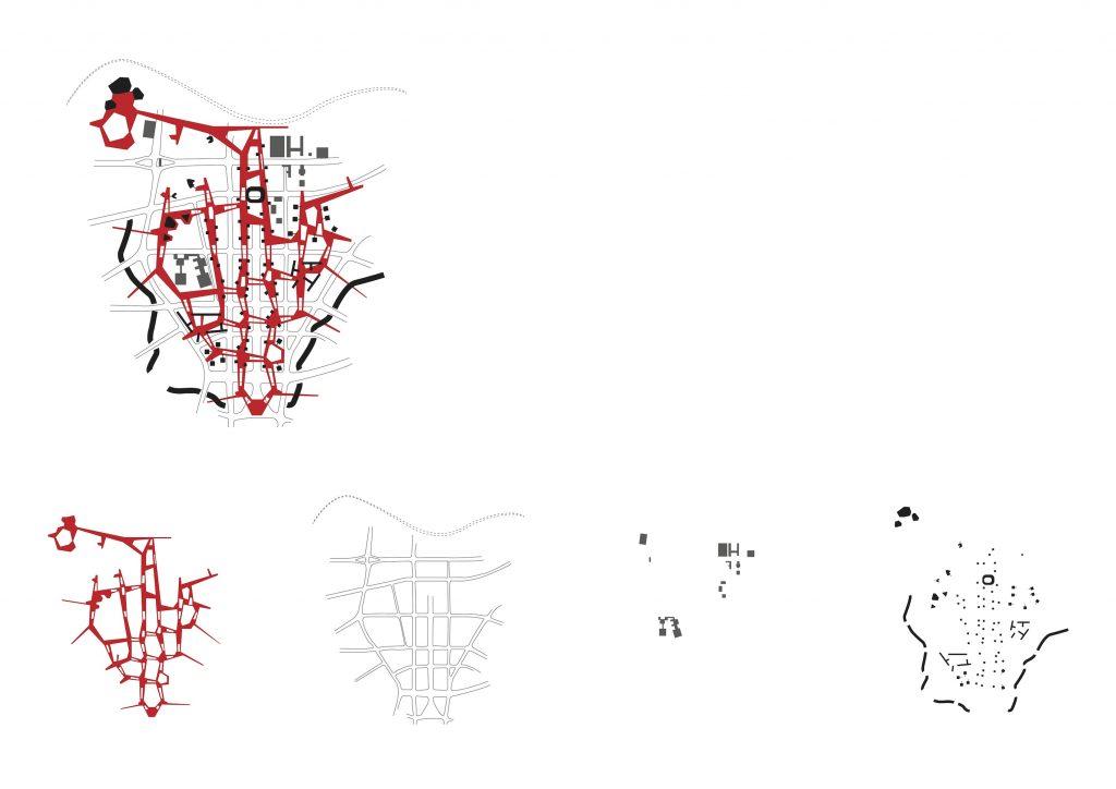 Skica sheme natječajnog rješenja centralnog Berlina i slojevi preklopljenih elemenata: pješački platoi, prometna mreža, povijesne građevine uklopljene u plan, novi objekti.