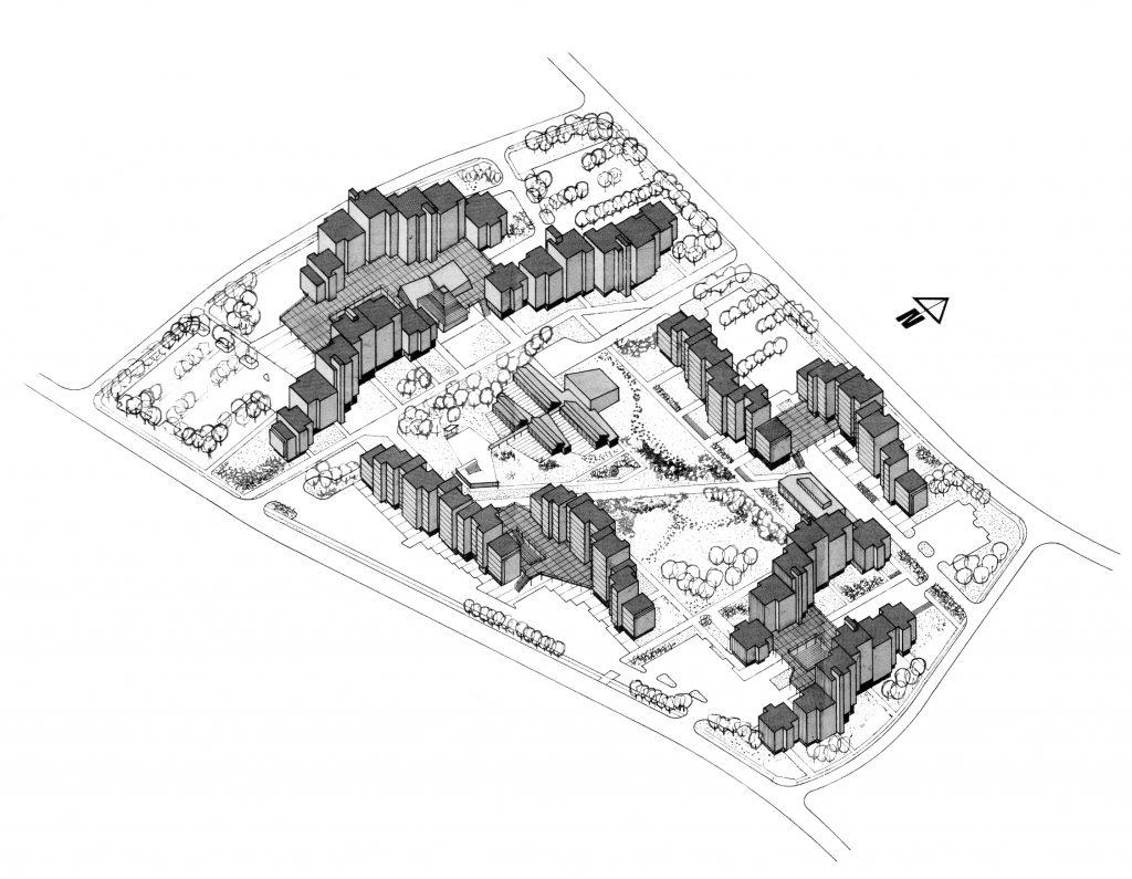 Aksonometrijski prikaz zone kolektivnog stanovanja naselja Grabik.