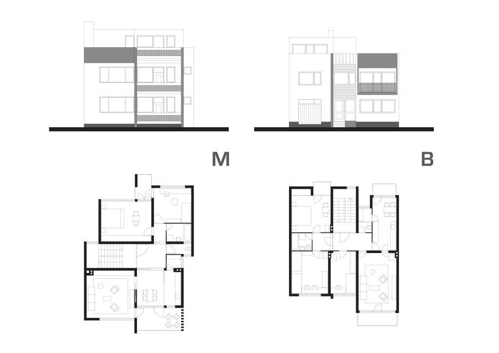 Grabrik. Tipovi M (autor: Ivan Maradin) i B (Mladen Bišćan) individualnih objekata u nizu.