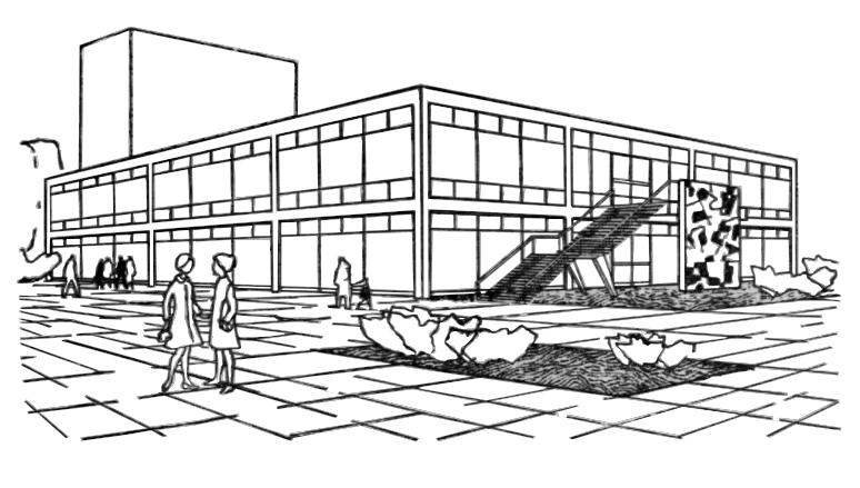 Skica zgrade Auto-Hrvatske i Galerije slika: pogled s jugozapada