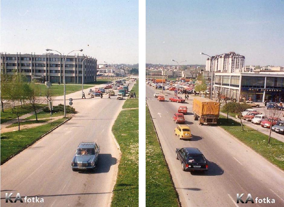 Središnji potez javnih sadržaja Novog centra Karlovca: desno u prvom planu zgrada Auto-Hrvatske (srušeno), te u pozadini sadašnja zgrada Galerije slika