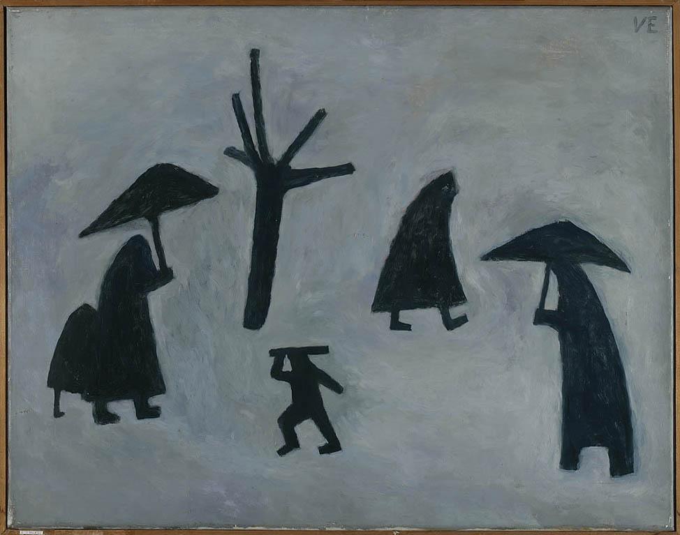 Višnja Ercegović U snijegu 1955. g. ulje na platnu, 58 x 74 cm sign. g.d. VE inv. br. GMK-IKMP-147 G Vl. Gradski muzej Karlovac